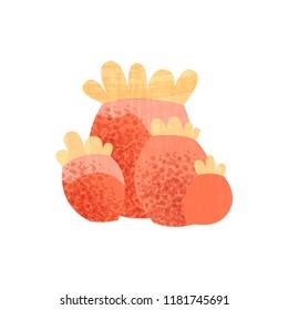 Red tropical coral. Underwater plant. Marine invertebrate animal. Element for aquarium. Flat vector icon with texture