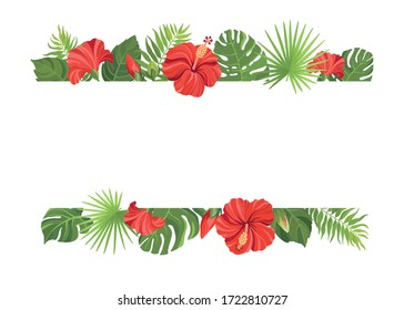 Red tropical flowers and green leaves frame template. Hibiscus floral border with place for text. Vector illustration.