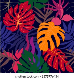 Red tropical forest. Seamless tropical pattern with botanical motifs. Aloha textile collection. On black background.