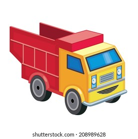red truck isolated on white (vector illustration)