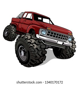 Red truck offroad