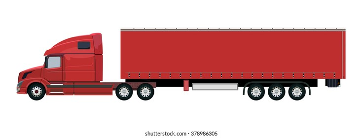 Red truck with a trailer on a white background