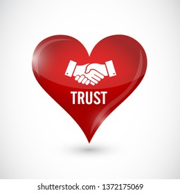 red trust handshake protection concept Illustration isolated over a white background