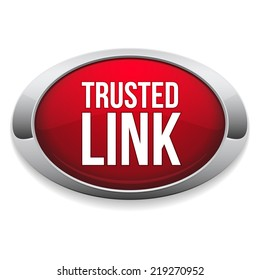 Red trusted link button with metallic border on white background
