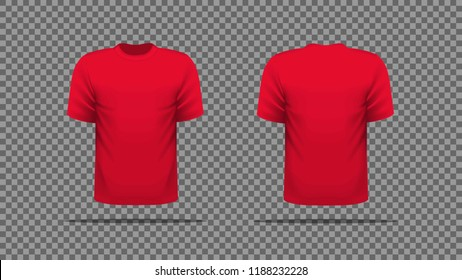 Red T-shirt template vector, front and back view.