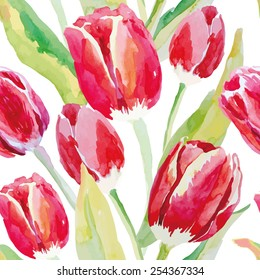 Red tulips on the white background. Watercolor seamless pattern with spring flowers.