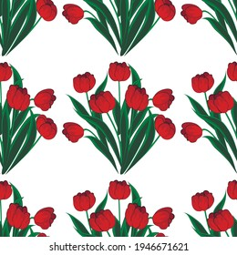 Red tulips - pattern, seamless texture. Background for a website or blog, wallpaper, textiles, packaging.