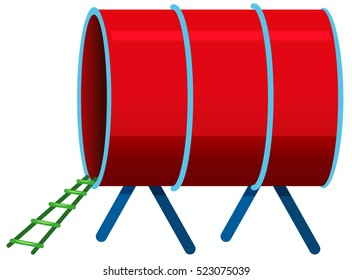 Red tunnel on white background illustration