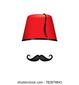 Red Turkish Fez hat and mustache template - isolated vector illustration