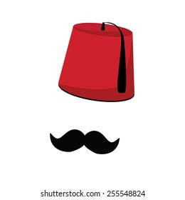 Red turkish hat fez and black mustache vector isolated, turkish symbols
