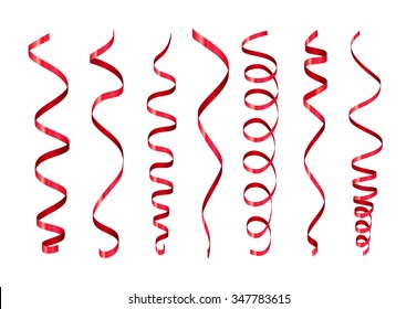 Red Twirl Paper Streamer Set. Vector illustration isolated on white background