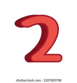 red two number 3d font on white background