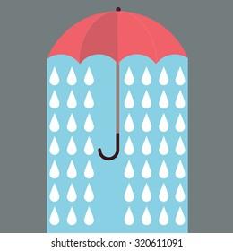 Red umbrella with rain. Vector background.