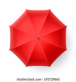 Red umbrella, top view. Vector.