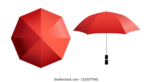 Red umbrella vector illustration. Top and side view of open parasol isolated on white (any) background