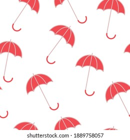 Red umbrellas on white background, seamless pattern, vector