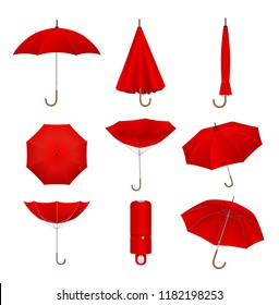 Red umbrellas set. Isolated on white background. Realistic umbrella or parasol in different positions, vector illustration.