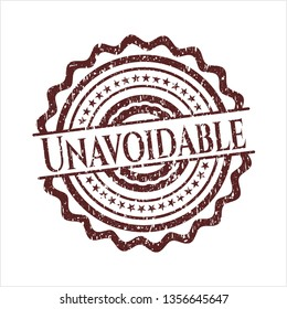 Red Unavoidable distress rubber stamp with grunge texture