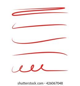 red underline stroke set, red hand lettering underlines, red brush line set