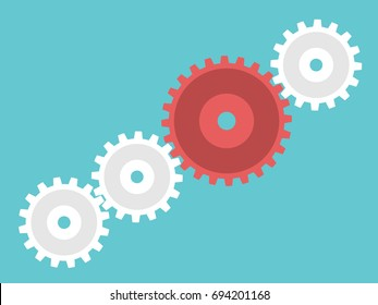 Red unique big leader cog wheel leading many white small ones. Leadership, management and organization concept. Flat design. EPS 8 vector illustration, no transparency, no gradients