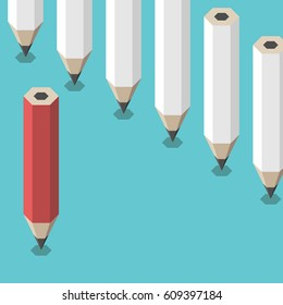 Red unique pencil standing against many identical white ones. Leadership, uniqueness, creativity and courage concept. Flat design. No transparency, no gradients