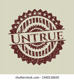 Red Untrue distressed grunge style stamp