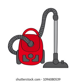 Red vacuum cleaner - original hand drawn illustration