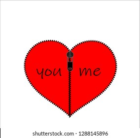 Red Valentine heart with two compartments. You and me. With a zipper attached to each other. Together we are One. Happy Valentine's Day. I love you.