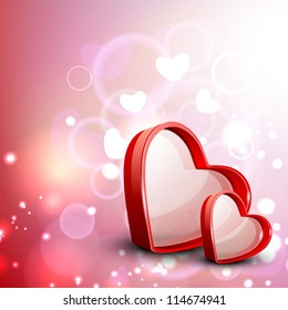 Red Valentine Hearts on floral decorative love background. EPS 10