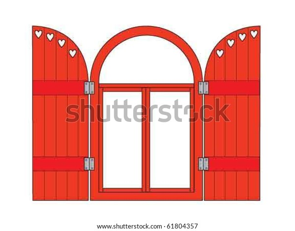 Red Valentine window with shutters