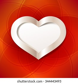 Red Valentine's Day background with white heart. Vector greeting card. Editable blend options.