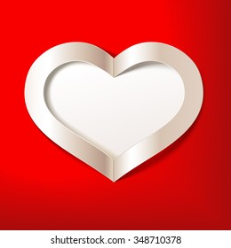 Red Valentine's Day background with white heart. Vector illustration. Editable blend options.