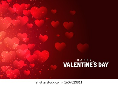 red valentines day hearts background abstract design