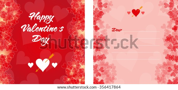Red Valentines Day Invitation Card Borders Stock Vector