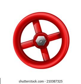 Red valve with bolt, eps10 illustration make transparent objects