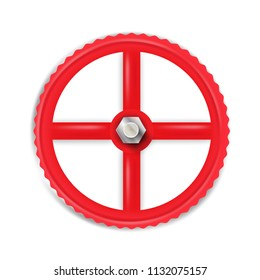 Red valve with bolt. Vector illustration