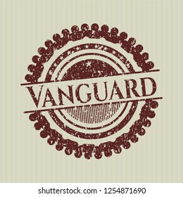 Red Vanguard distressed grunge style stamp