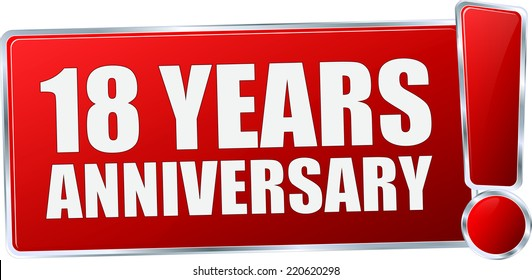 red vector 18 Years Anniversary sign