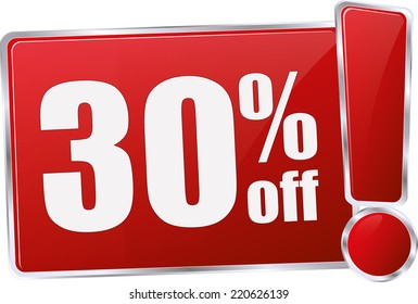 red vector 30% discount price sign