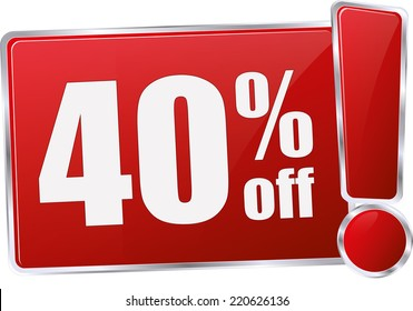 red vector 40% discount price sign