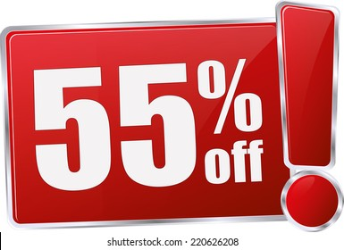 red vector 55% discount price sign