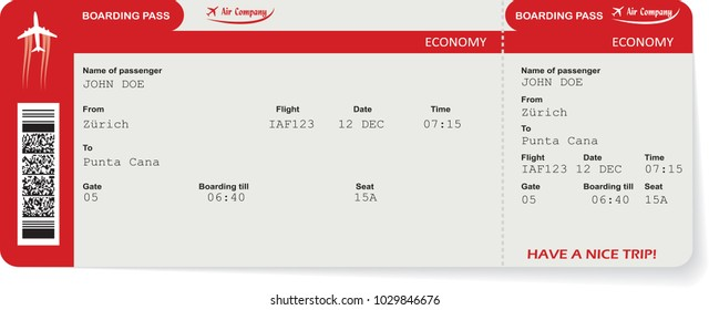 Red vector airline passenger and baggage boarding pass ticket with barcode. Concept of travel,journey or business trip