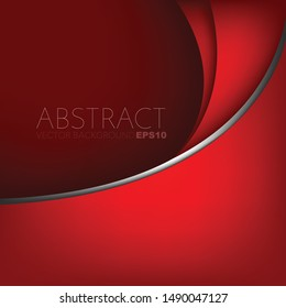 Red vector background curve line with space for design