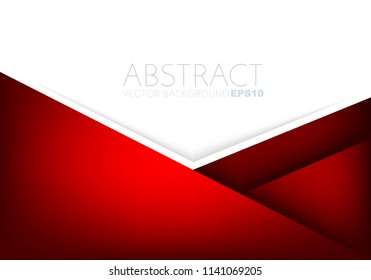 Red vector background geometric and overlap layer on white space for text design
