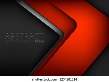 Red vector background overlap layer on black space for design