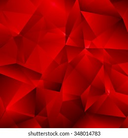 Red Vector Background with Triangles Shapes. Abstract Low Poly Geometric Texture.