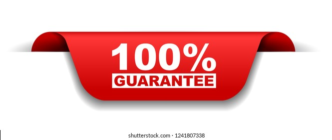 red vector banner 100% guarantee