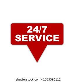 red vector banner 24/7 service. Creative label