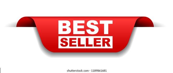 red vector banner best seller