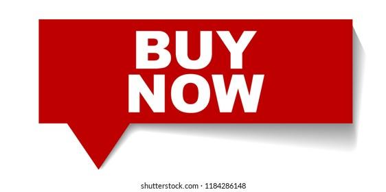 red vector banner buy now